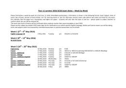 Year 11 summer 2016 GCSE Exam Dates – Week by Week Week 1