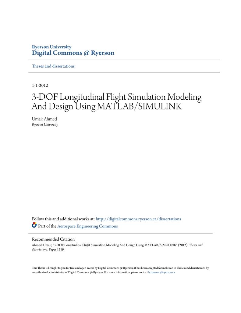 3-DOF Longitudinal Flight Simulation Modeling And Design Using
