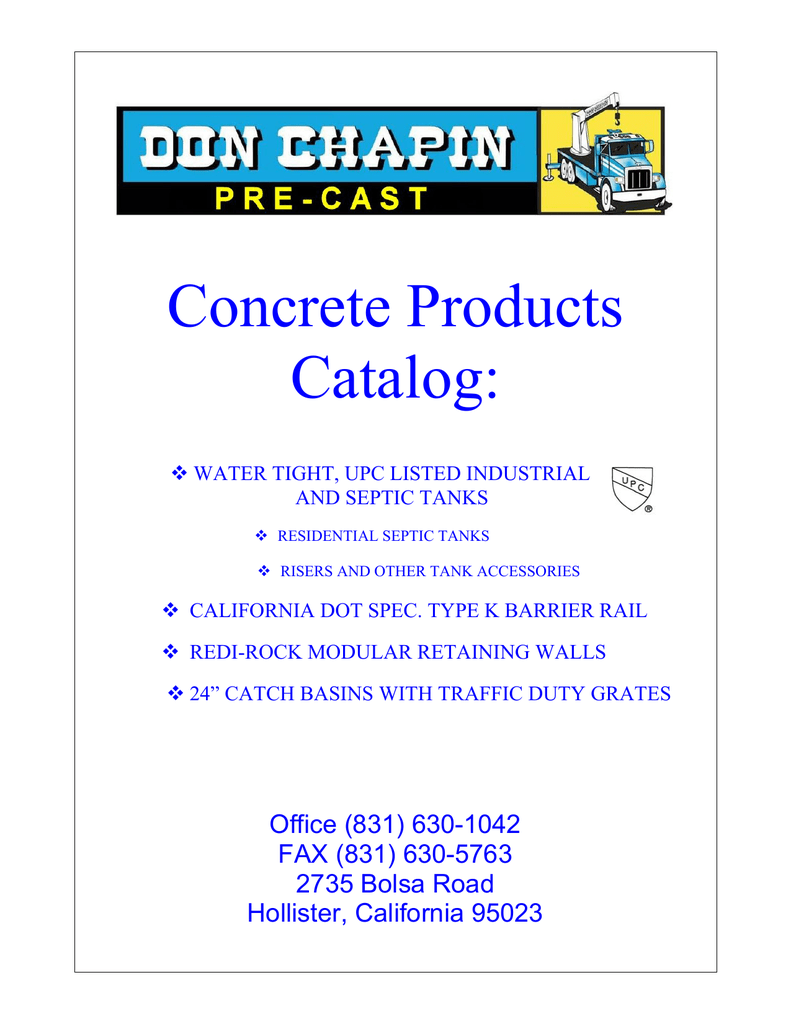 The Chapin Pre-Cast catalog is downloadable