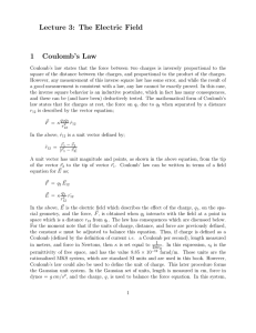 Lecture 3: The Electric Field 1 Coulomb`s Law