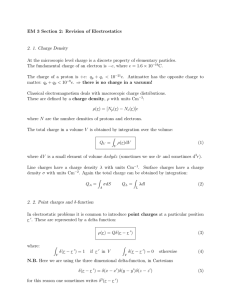 EM 3 Section 2: Revision of Electrostatics 2. 1. Charge Density At