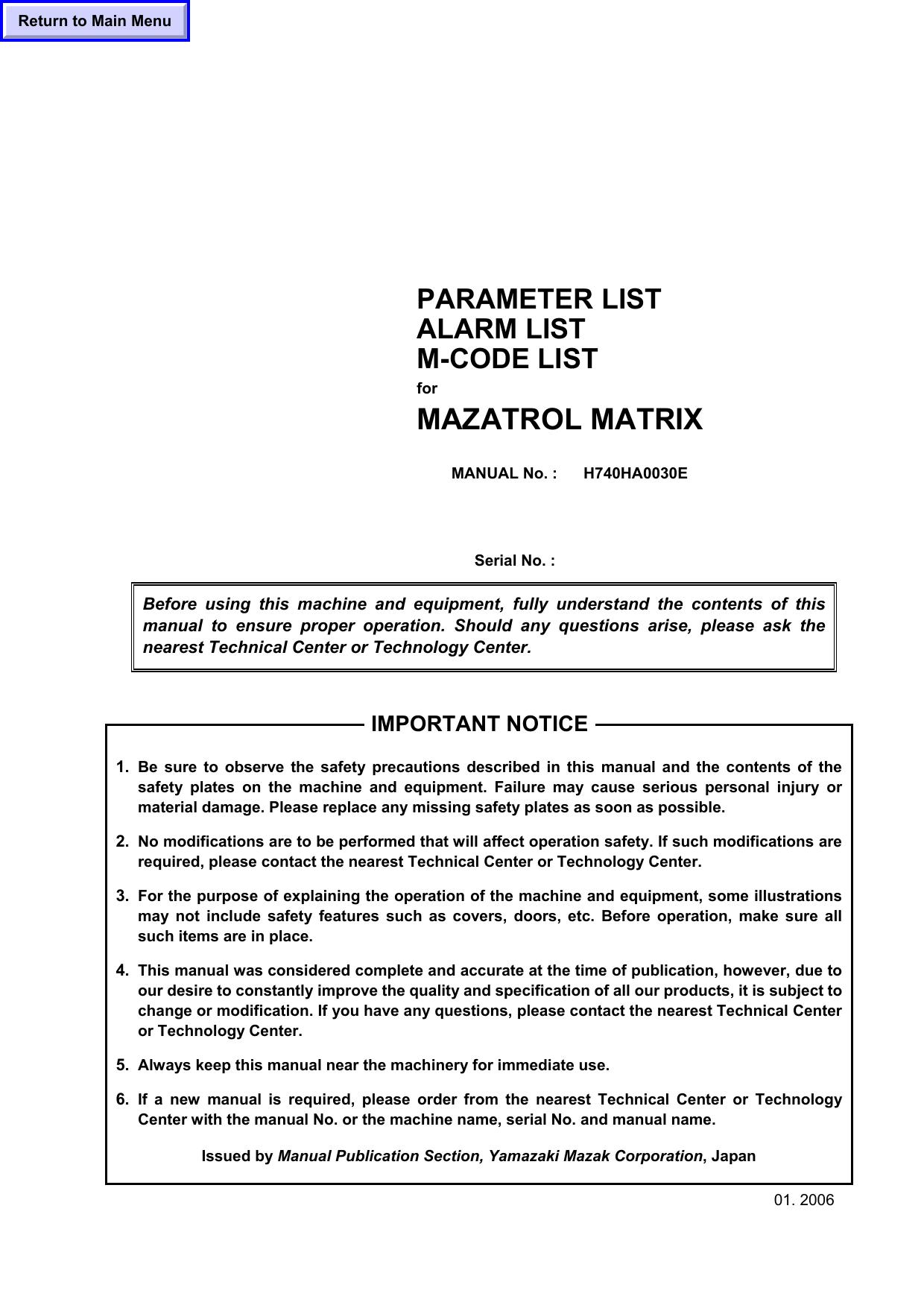 PARAMETER LIST ALARM LIST M-CODE LIST