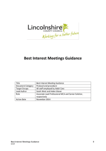 Best Interest Meetings Guidance - Social Care Institute for Excellence