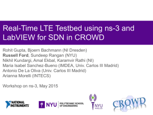 Real-Time LTE Testbed using ns-3 and LabVIEW for SDN in CROWD