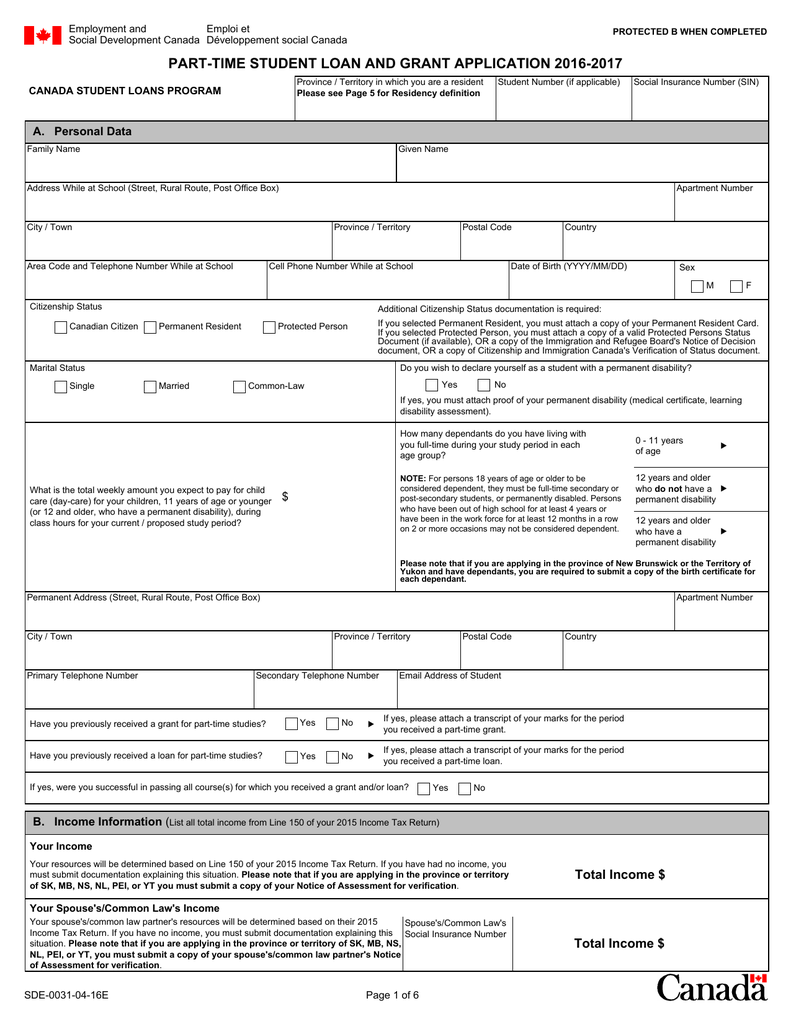Part Time Student Loan And Grant Application