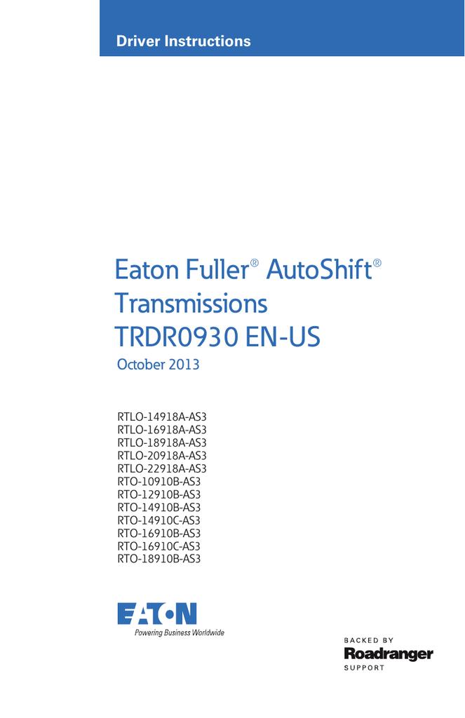 Eaton Fuller® AutoShift® Transmissions TRDR0930 EN-US