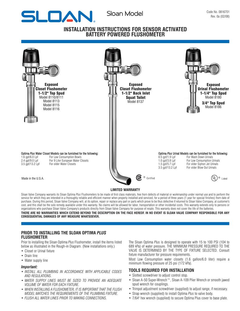 G2 Optima Plus American Standard Urinal Wiring Diagram