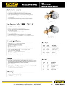 Specifications - Stanley Commercial Hardware