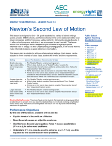 Newton`s Second Law of Motion