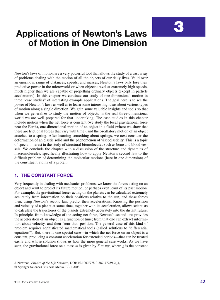 Applications of Newton`s Laws of Motion in One Dimension