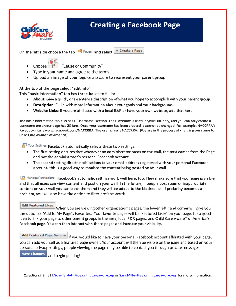 Creating a Facebook Page - Child Care Aware of America