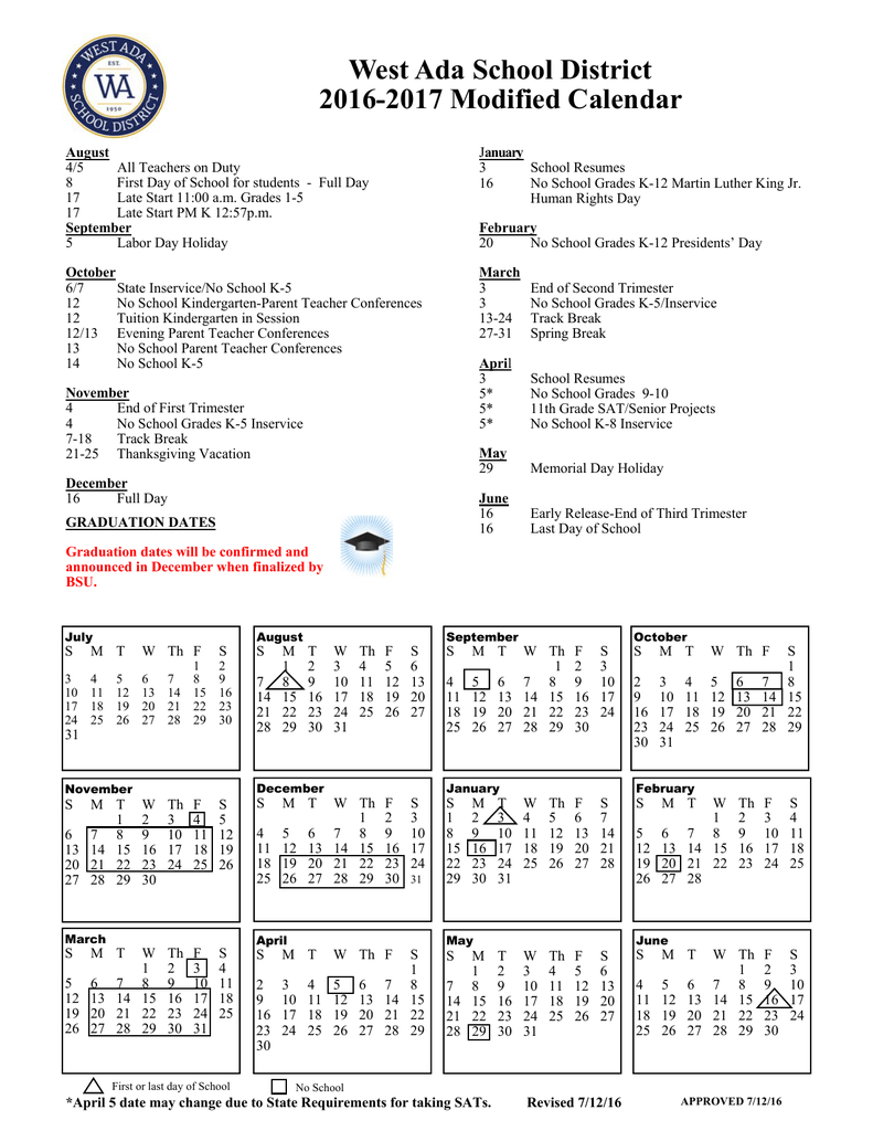 West Ada Calendar.Modified School Calendar At A Glance 2016 2017