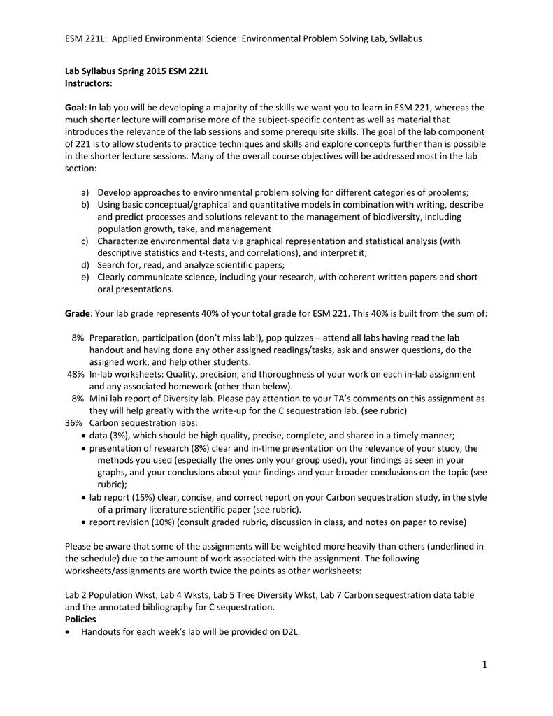 Worksheets Environmental Science Worksheets esm 221l applied environmental science problem