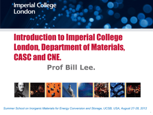 Introduction to Imperial College London and Department of Materials.