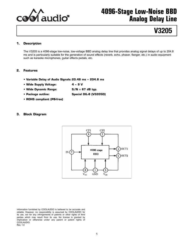 V3205 4096 Stage Low Noise Bbd Analog Delay Line Block Diagram
