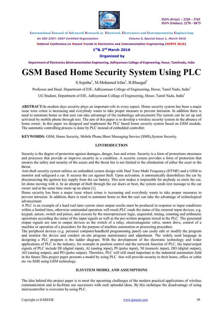 GSM Based Home Security System Using PLC