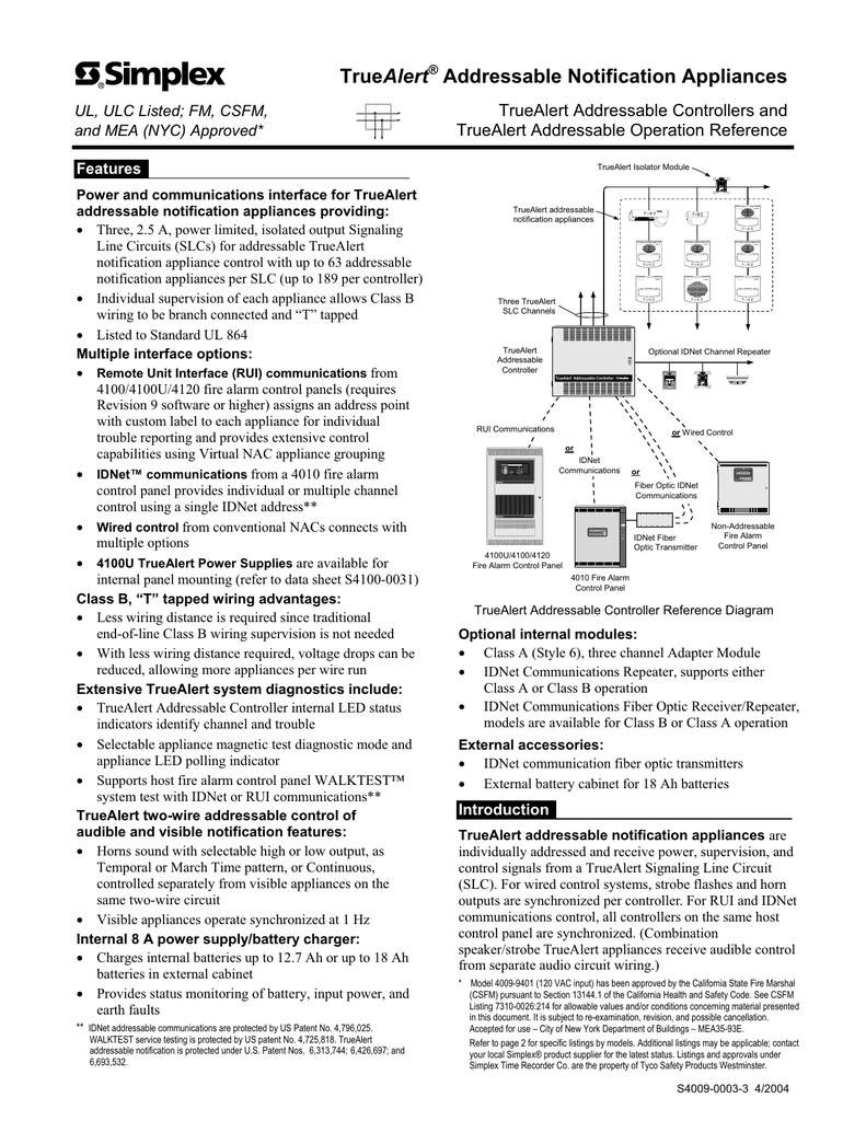 Truealert Addressable Notification Appliances Fire Alarm Repeater Panel Wiring Diagram
