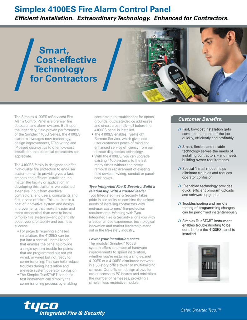 Simplex 4100es Fire Alarm Control Panel For Contractors Wiring Circuit A Contractor