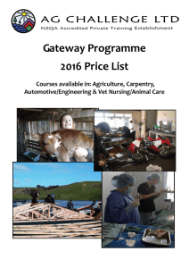 Gateway Programme 2016 Price List