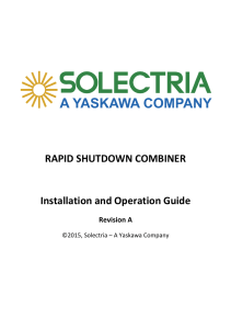 Rapid Shutdown Combiner Installation and Operation Guide