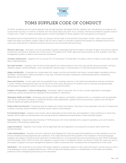 TOMS SUPPLIER CODE OF CONDUCT