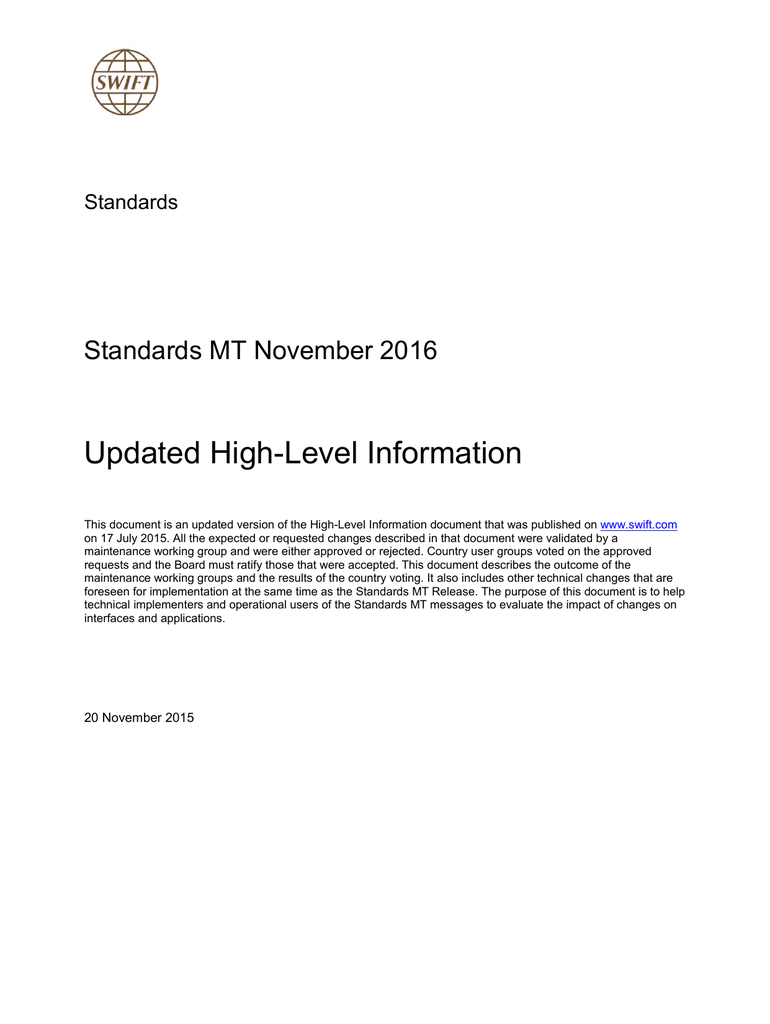 Standards MT November 2016 - Updated High-Level