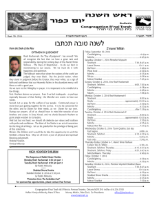 Weekly Bulletin - Congregation B`nai Torah Toronto