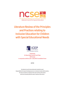 Literature Review of the Principles and Practices relating to Inclusive