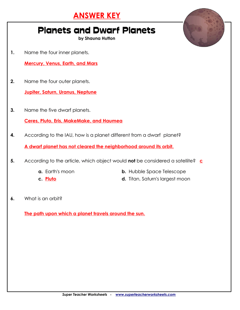 Planets and Dwarf Planets – Outer Planets Worksheet