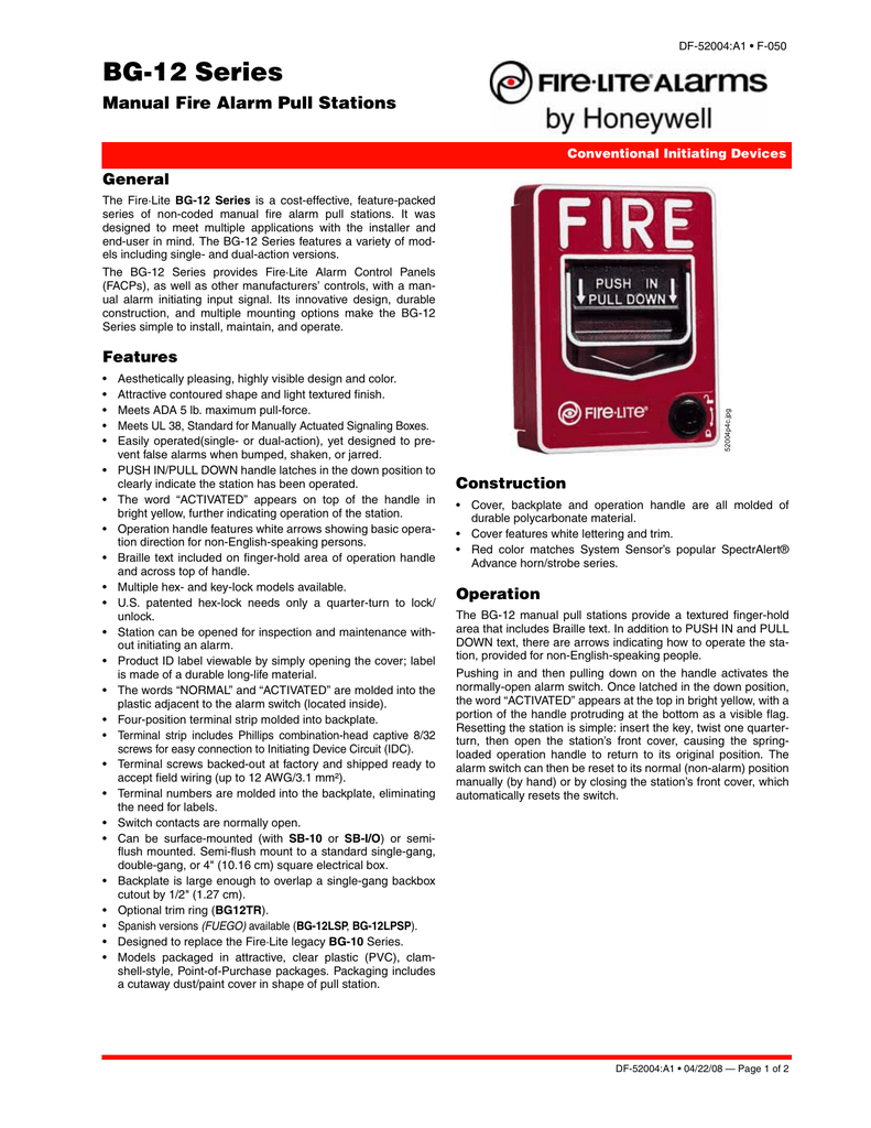 BG-12 Series - Fire-Lite Alarms by Honeywell