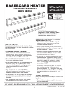 TPI Baseboard Heater Installation Instructions