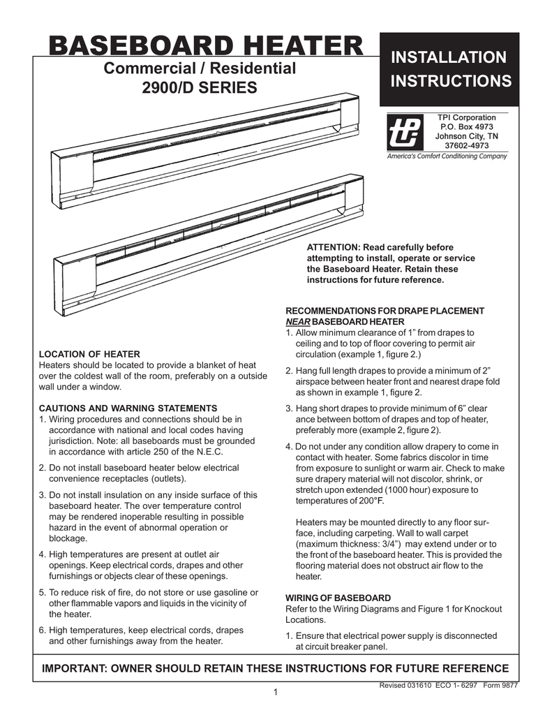 Tpi Baseboard Heater Installation Instructions Bedroom Wiring Diagram This Includes The Wall