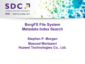 BorgFS File System Metadata Index Search