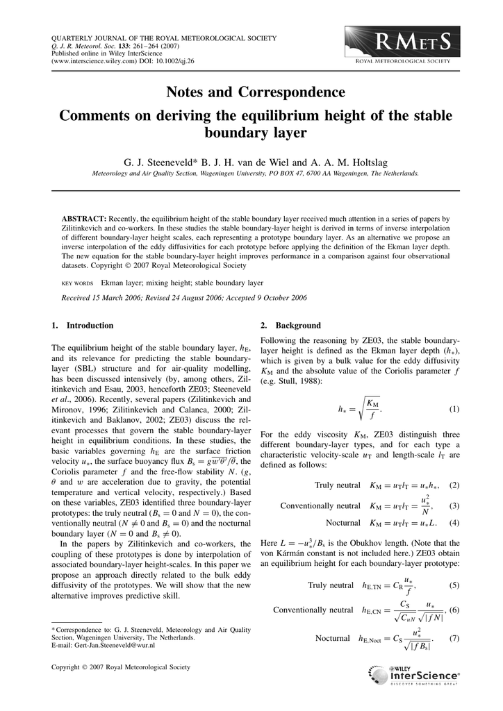 Comments on deriving the equilibrium height of the stable
