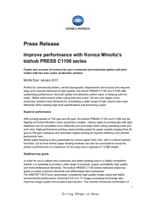 Improve performance with Konica Minolta`s bizhub PRESS C1100