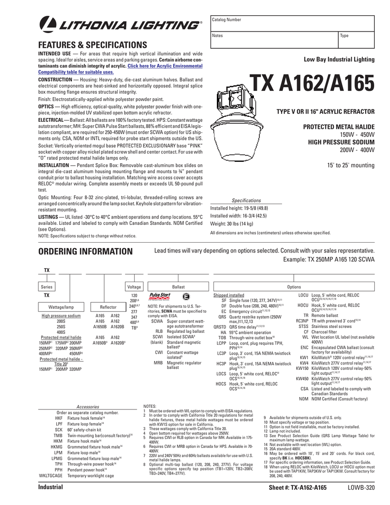 Tx A162 A165 Acuity Brands Wiring A Light Fixture On Loop