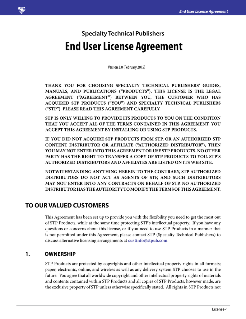 License Agreement Specialty Technical Publishers