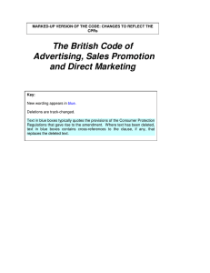 The British Code of Advertising, Sales Promotion and Direct