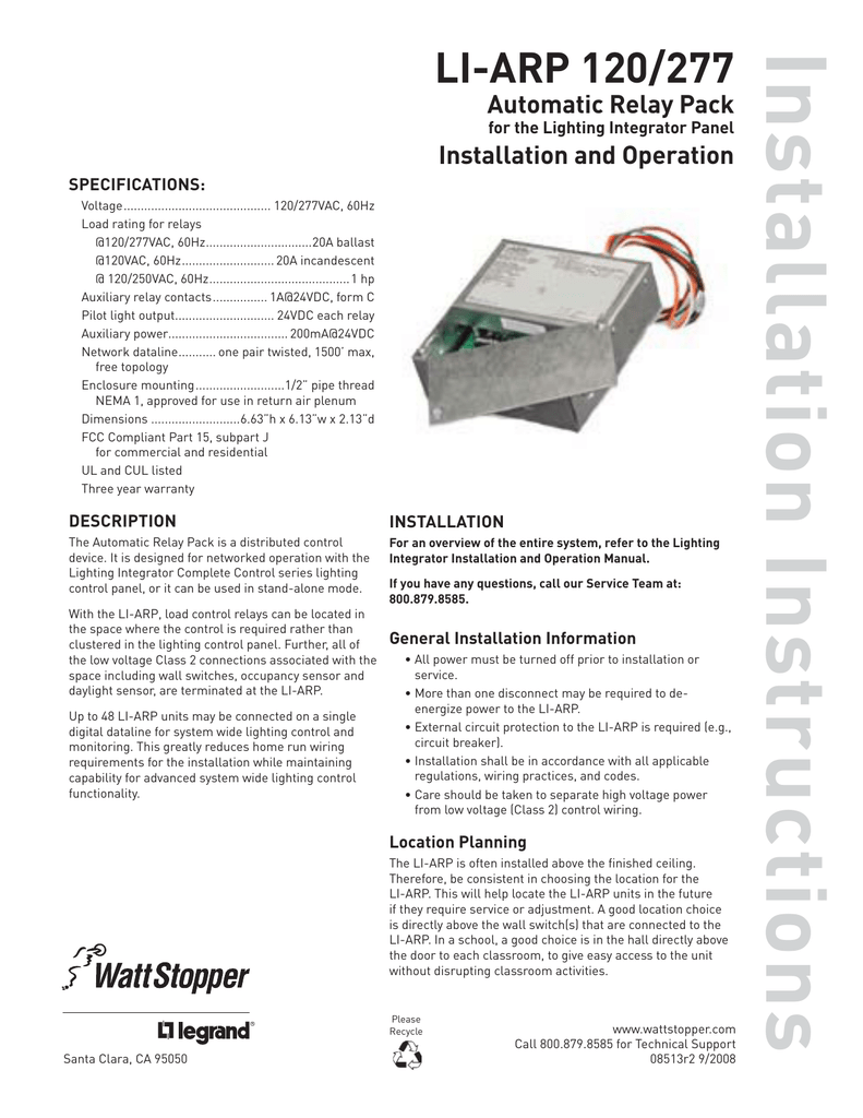 LI-ARP 120/277 Installation Instructions on grounding manual, carpentry manual, parts manual, hardware manual, programming manual, software manual,