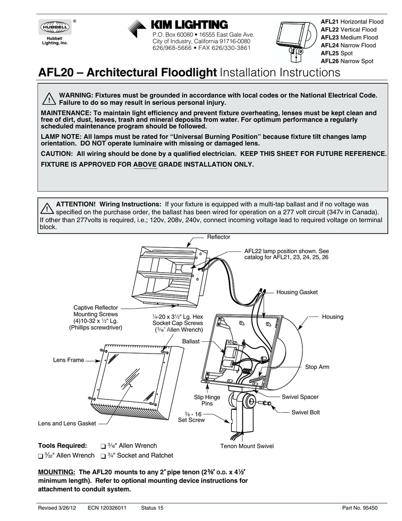 Afl20 Architectural Floodlight Installation Instructions Light Ballast Wiring Diagram Besides Led Bulb Circuit