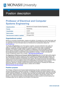 Professor of Electrical and Computer Systems Engineering