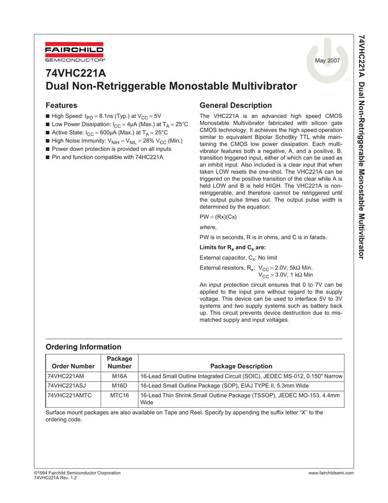 74vhc221a Dual Non Retriggerable Monostable Multivibrator In Describing The Output States Of Any Circuit