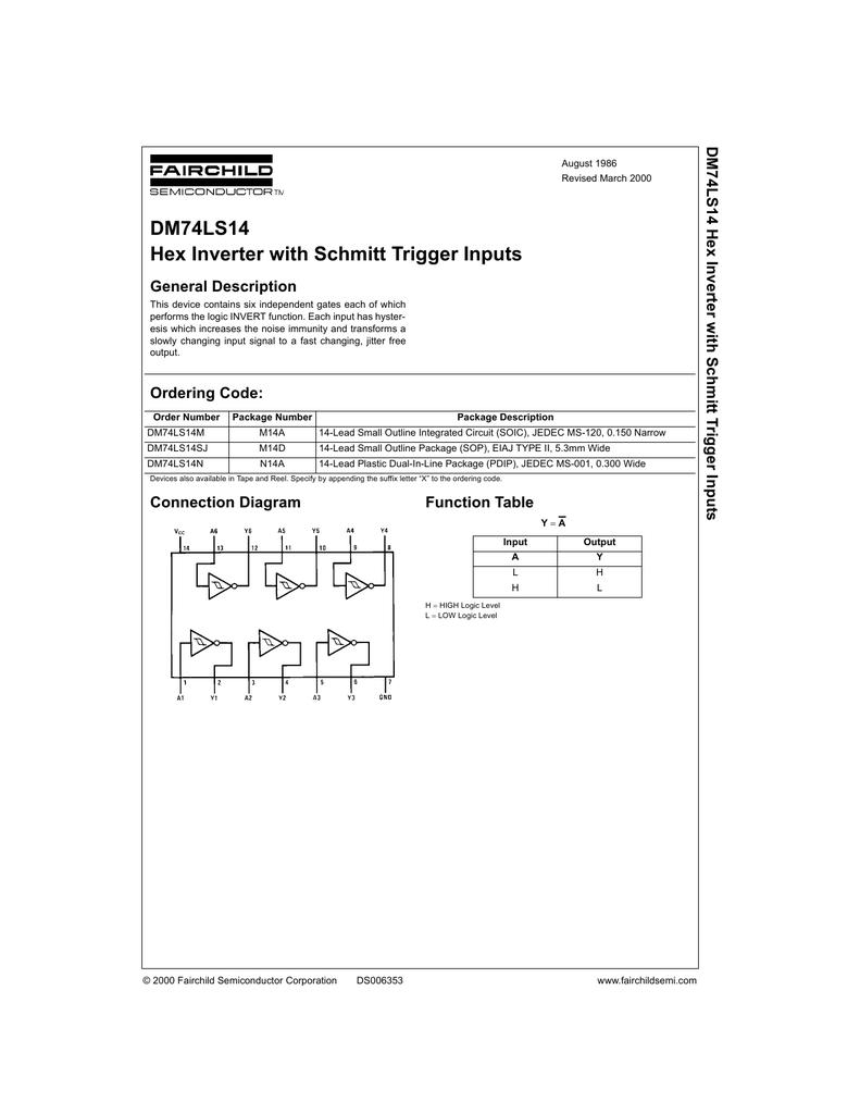 10 PCS DM74LS14M SOP-14 74LS14M 74LS14 LS14 Hex Inverter NEW