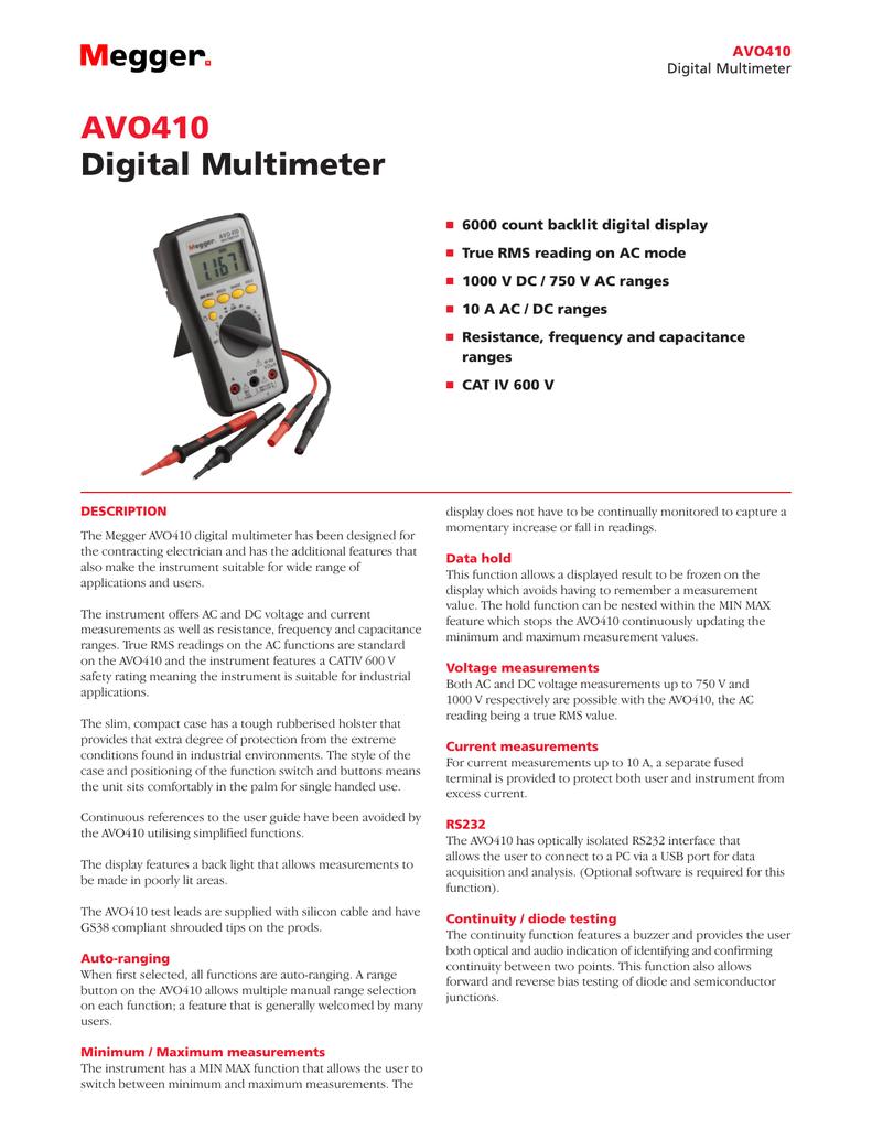 Test, Measurement & Inspection Multimeters Megger AVO410 Autoranging