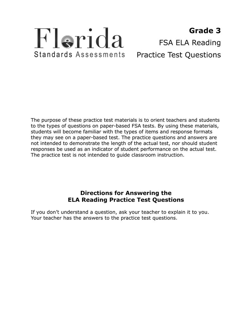 Grade 3 FSA ELA Reading Practice Test Questions