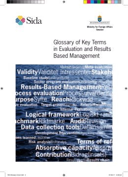 Glossary of Key Terms in Evaluation and Results Based
