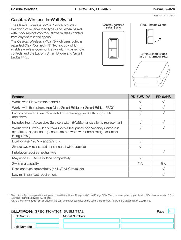 Casta Wireless In Wall Switch Spec 369831 Mlc Light Controller Wiring Diagram