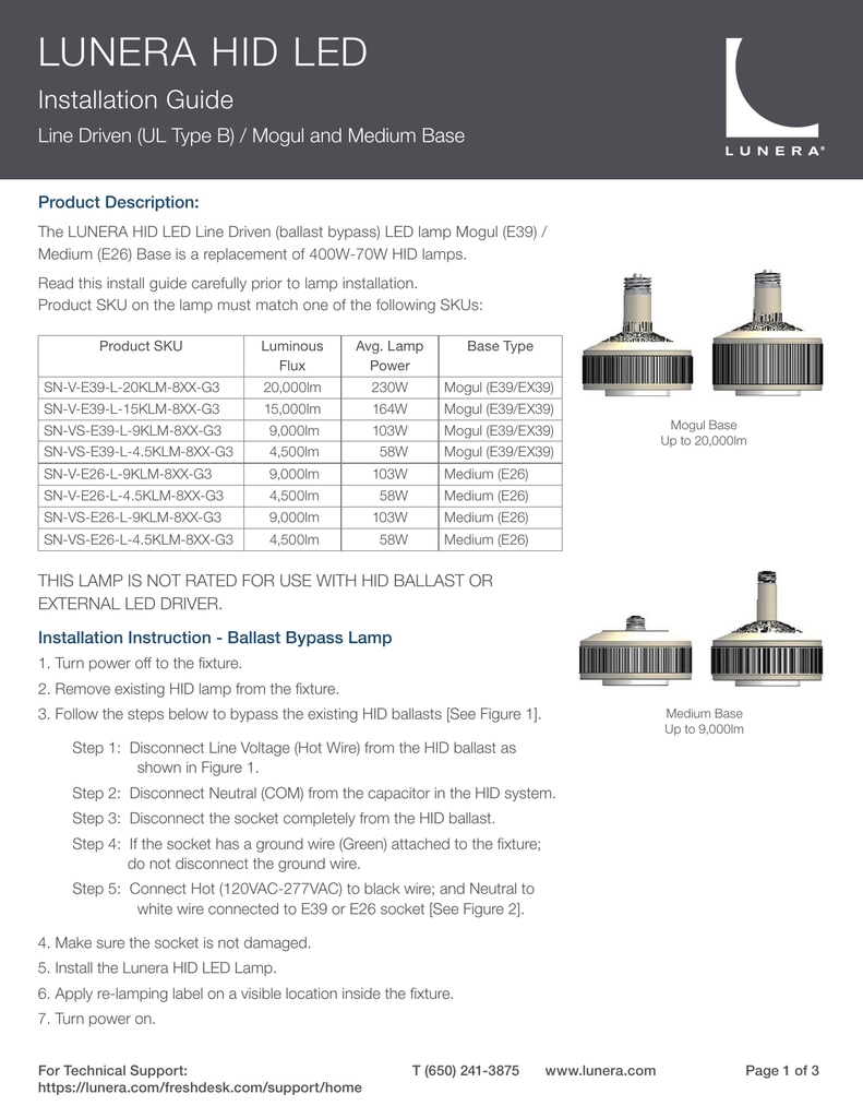 Lunera Hid Led Vertical Medium E26 Line Driven 9000lm 4500lm Wiring A Mogul Lamp