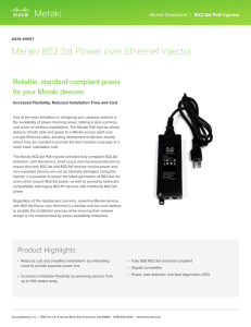 802.3at PoE Injector Datasheet - Meraki