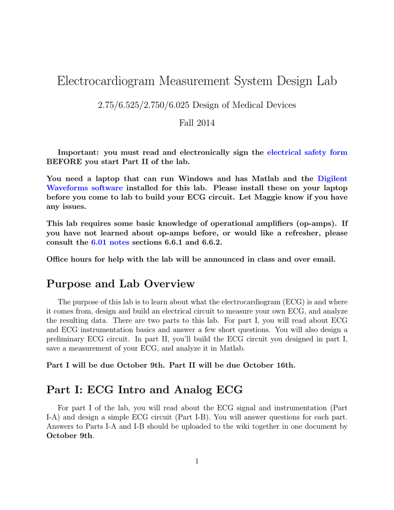 Electrocardiogram Measurement System Design Lab